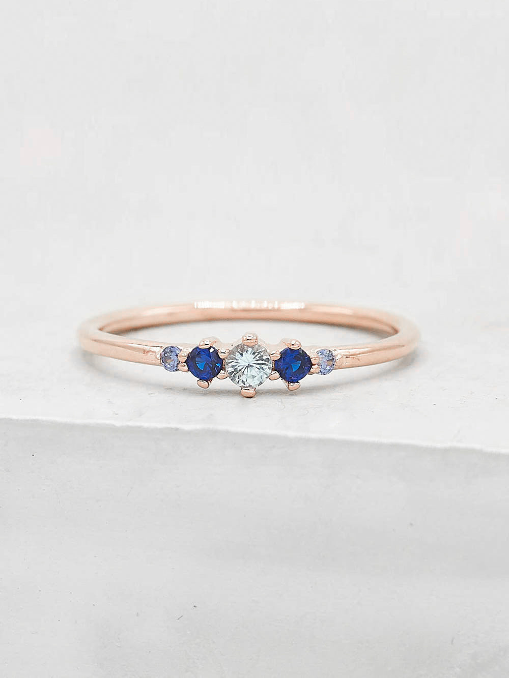 Rose Gold Plated Brass Crown Design Blue Five Stone Round CZ Ring by The Faint Hearted Jewelry