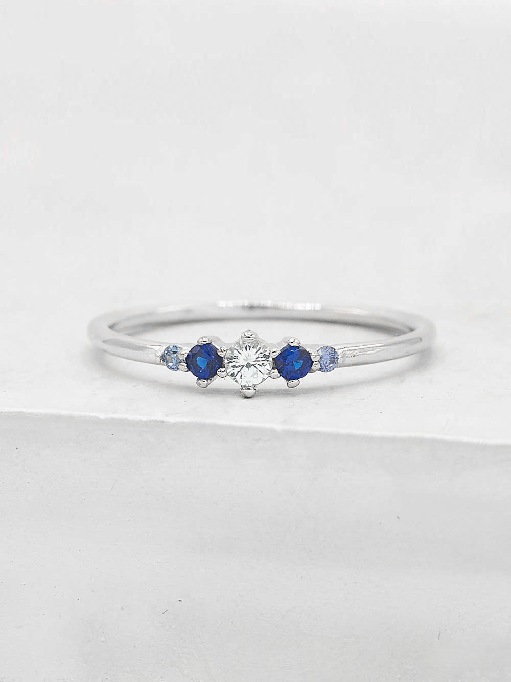 Crown Ring - Silver + Blue
