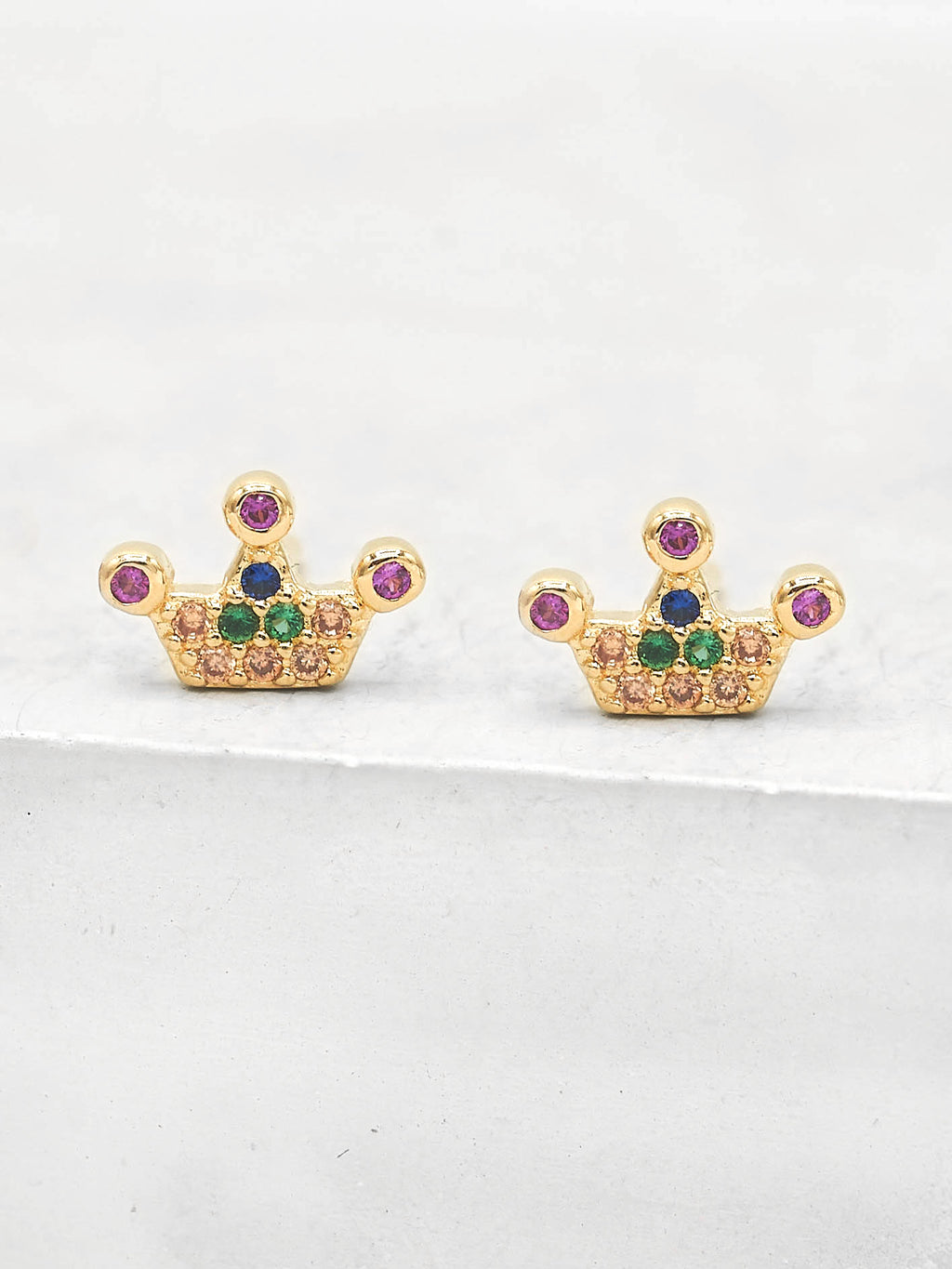 Crown design with CZ Round  rainbow stones Stud Gold Plated Earrings by The Faint Hearted Jewelry