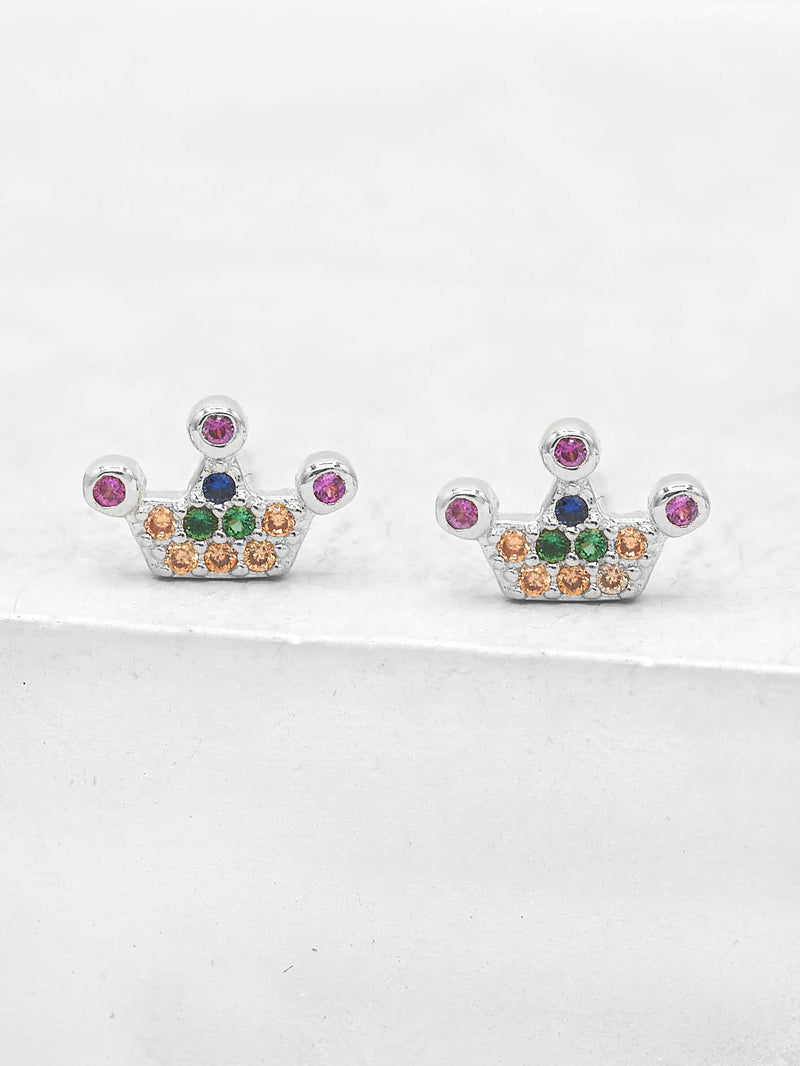 Silver crown design with Round Rainbow CZ stones Crown design Stud Earrings by The Faint Hearted Jewelry