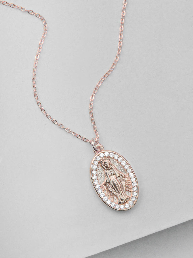 Rose Gold Mary Charm  Necklace by The Faint Hearted Jewelry
