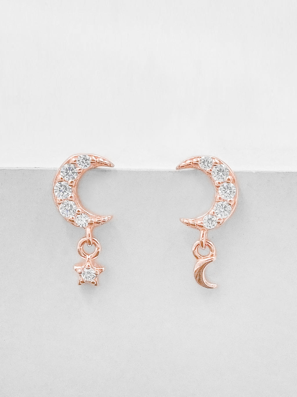 Rose Gold  Plated Minimalistic Dangle Moon and Star CZ Dainty Earrings by The Faint hearted Jewelry