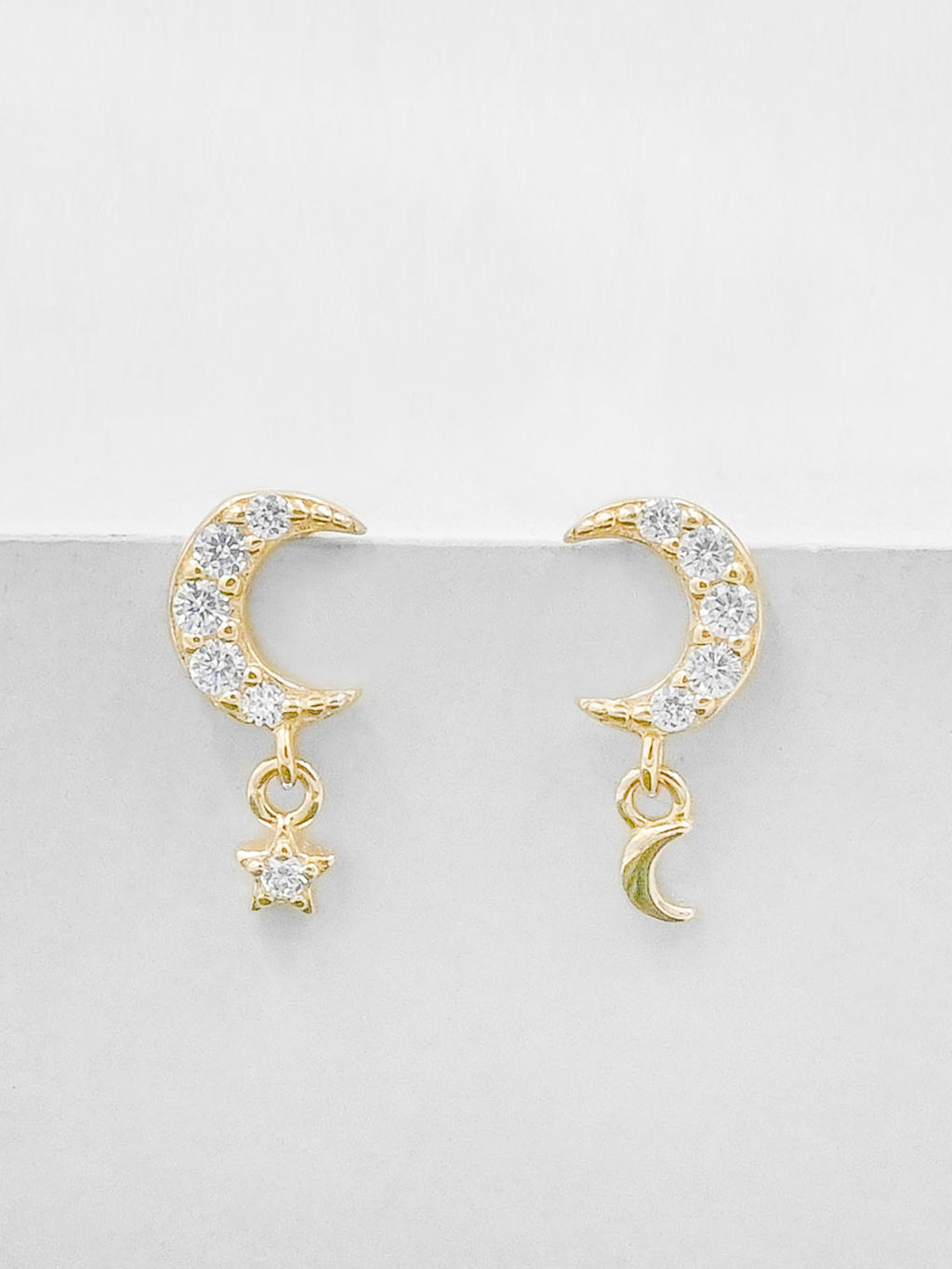 Minimalistic Dangle Moon and Star CZ Dainty Gold Plated Earrings by The Faint hearted Jewelry