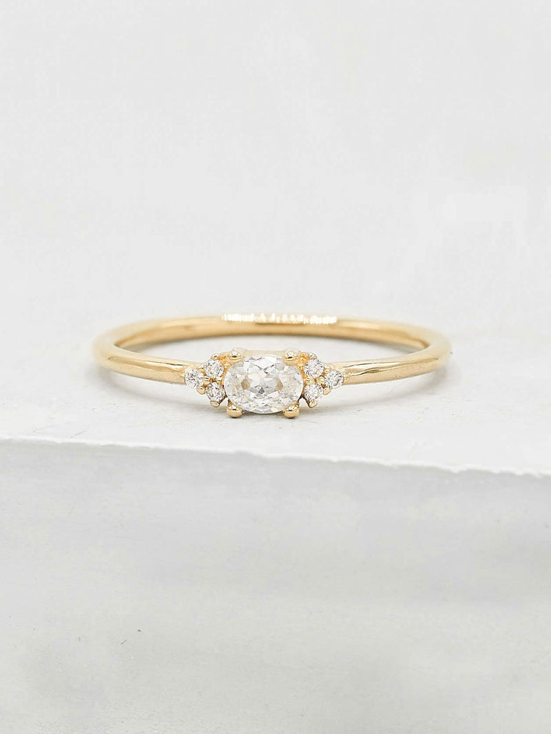 Oval White CZ Gold Plated Stacking Promise Ring by The Faint Hearted Jewelry