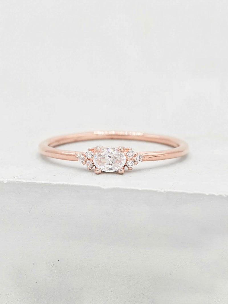 Oval White CZ Rose Gold Plated Stacking Promise Ring by The Faint Hearted Jewelry
