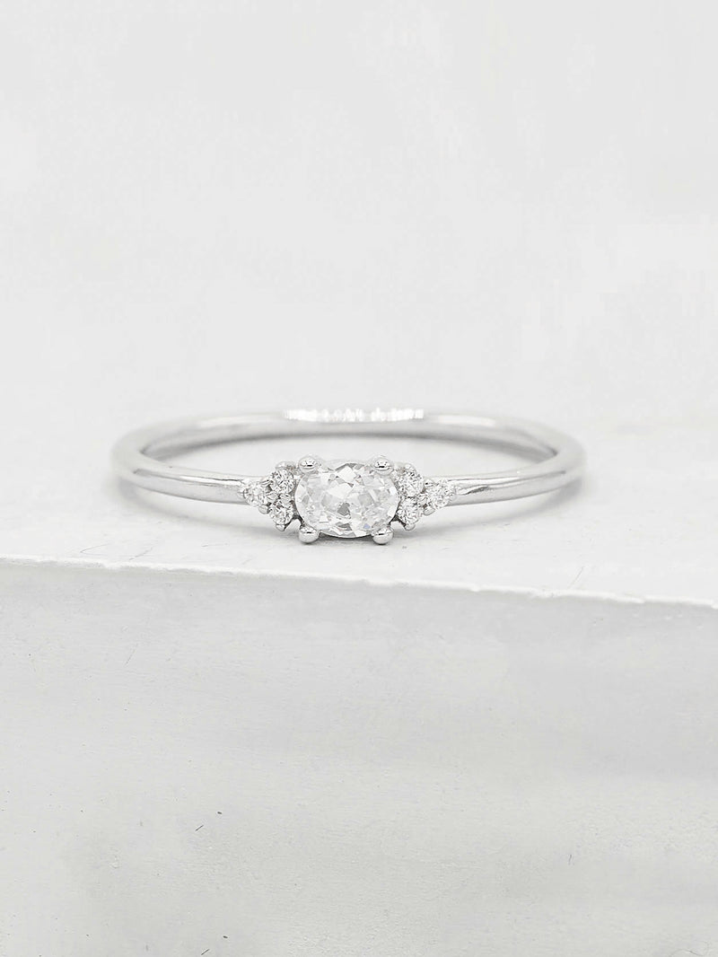 Dainty Minimalist Promise Ring with Oval Shape Cubic Zirconia by The Faint Hearted Jewelry