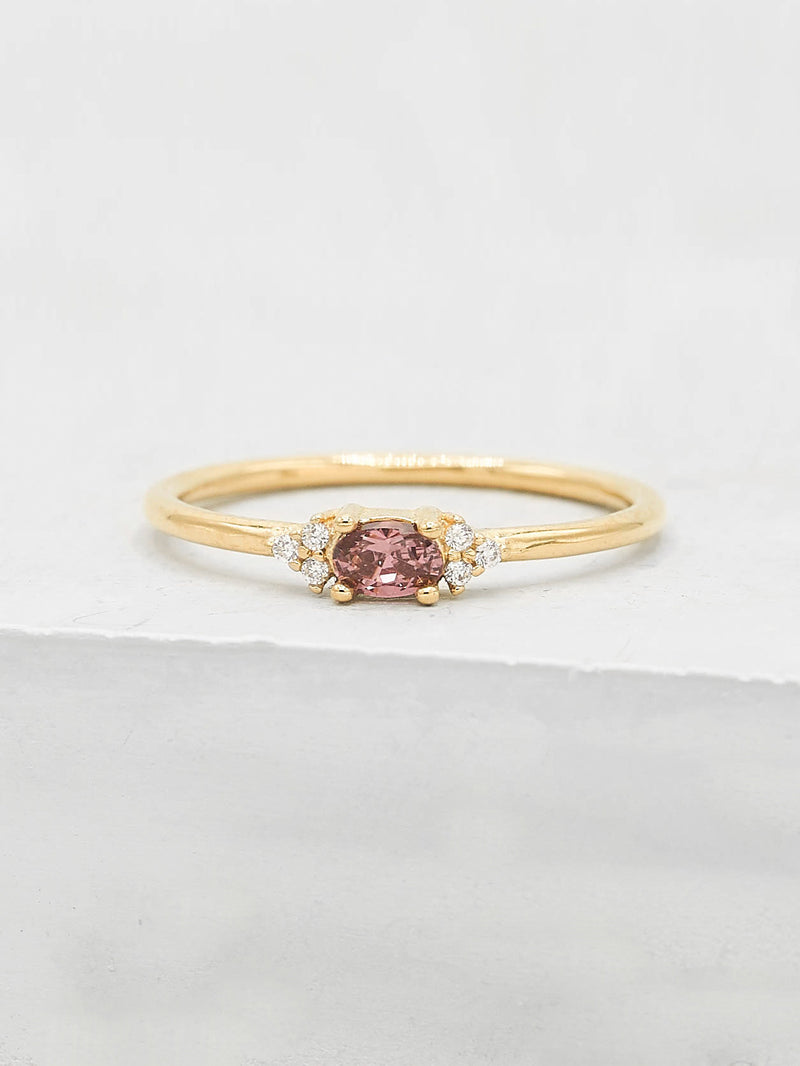 Oval Pink CZ Gold Plated Stacking Promise Ring by The Faint Hearted Jewelry
