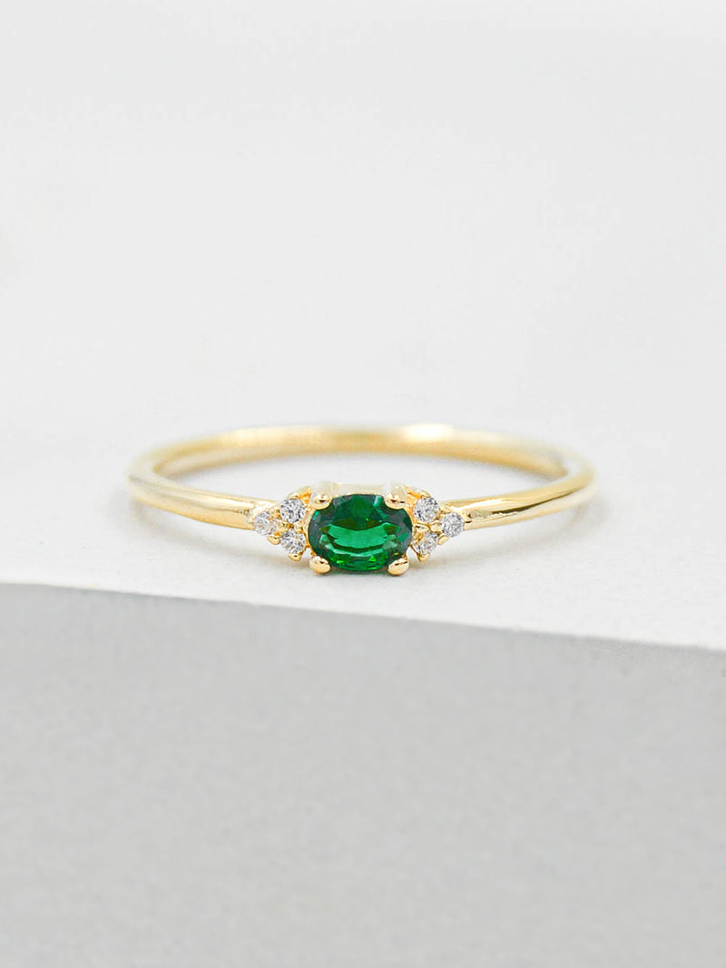 Dainty Green Emerald Oval Shape with Accent Stackable Ring by The Faint Hearted Jewelry