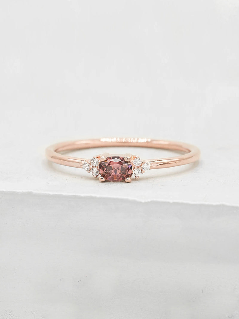 Rose Gold Plated Brass Minimalist Dainty Style Oval Shape with Accent CZ Ring by The Faint Hearted Jewelry