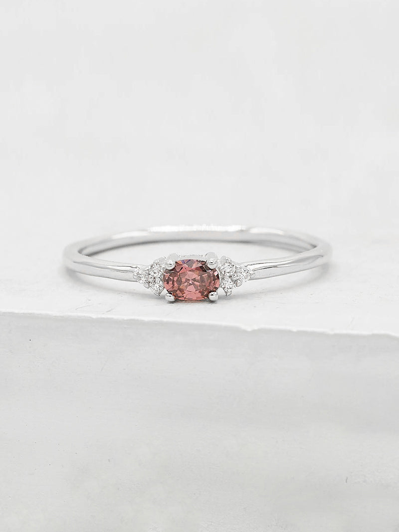Rhodium  Plated Brass Minimalist Dainty Style Oval Shape with Accent CZ Ring by The Faint Hearted Jewelry