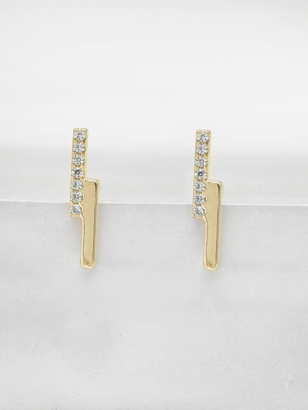 Mini Double Bar studs with Round white CZ Gold Plated Stud Earrings by The Faint Hearted Jewelry