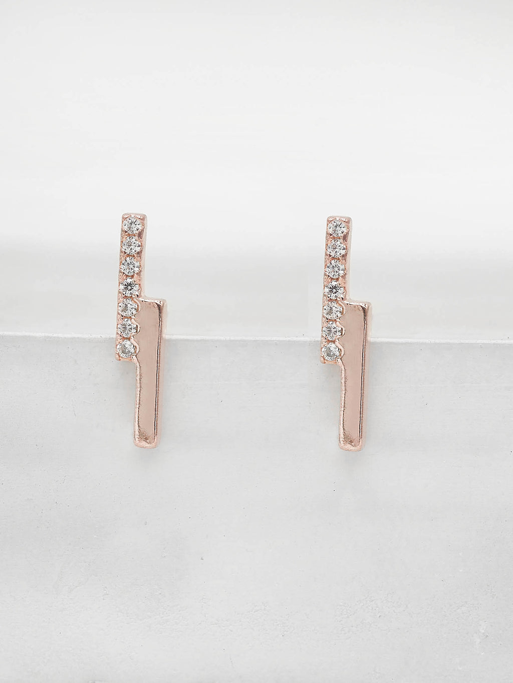 Rose Gold Plated Mini Double Bar studs with Round white CZ Stud Earrings by The Faint Hearted Jewelry