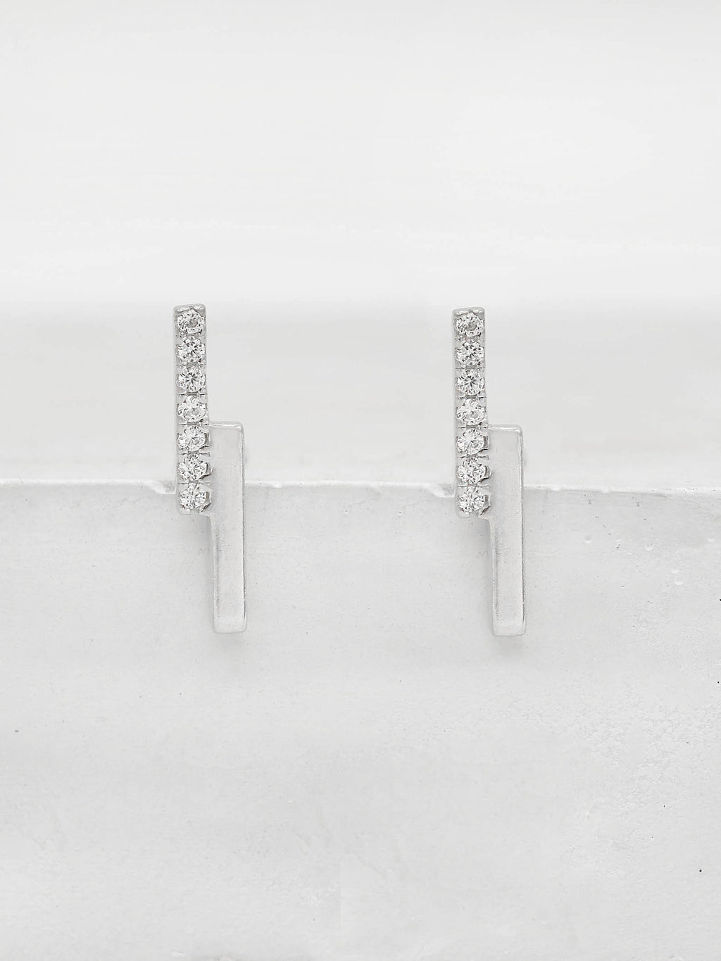 Double Bar Studs with CZ Rhodium Plated by The Faint Hearted Jewelry
