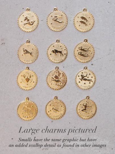 Lareg Gold Zodiac  Necklace by The Faint Hearted Jewelry