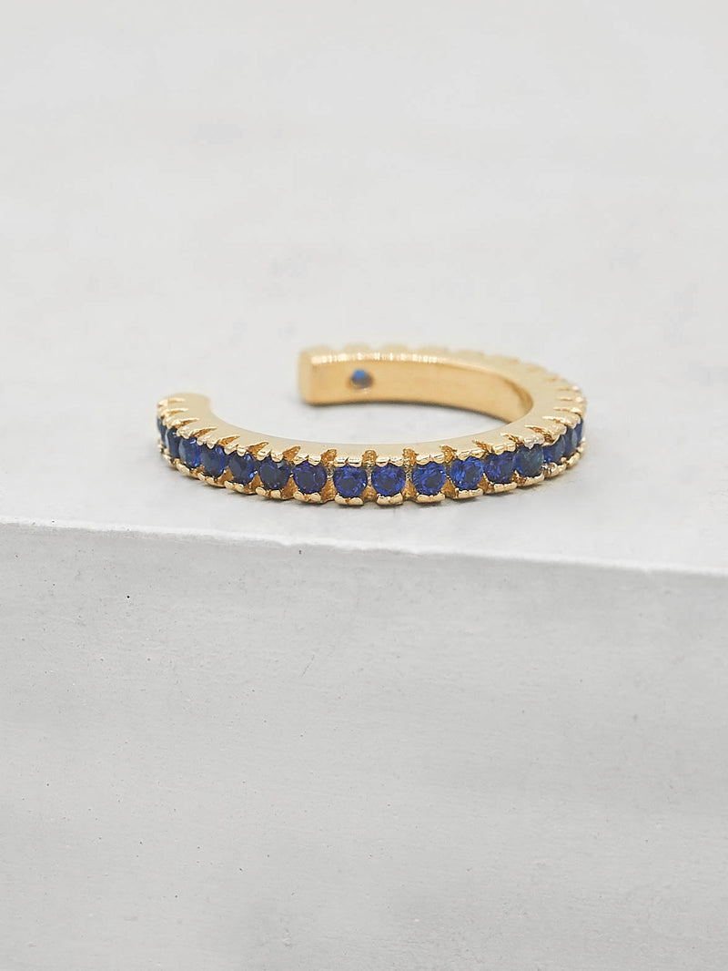 No Piercing Eternity Ear Cuff - Gold + Blue