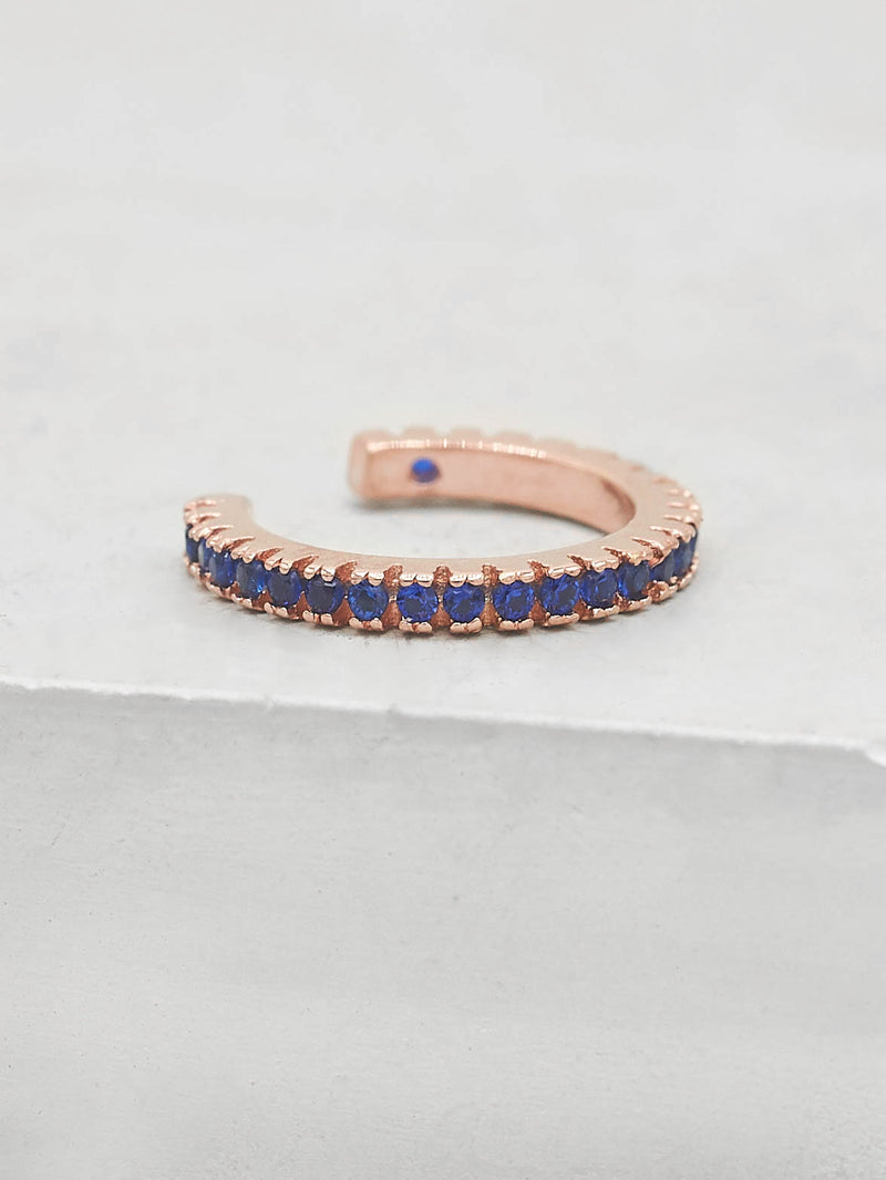 No Piercing Eternity Ear Cuff - Rose Gold + Blue