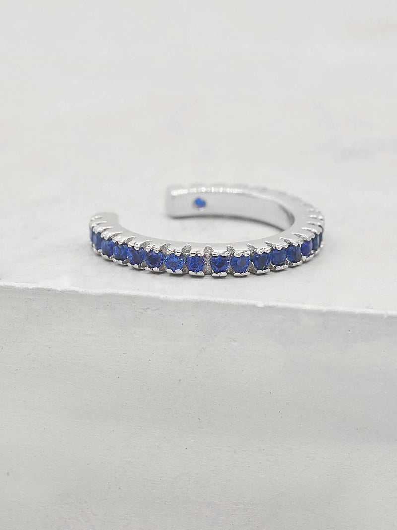 No Piercing Eternity Ear Cuff - Silver + Blue
