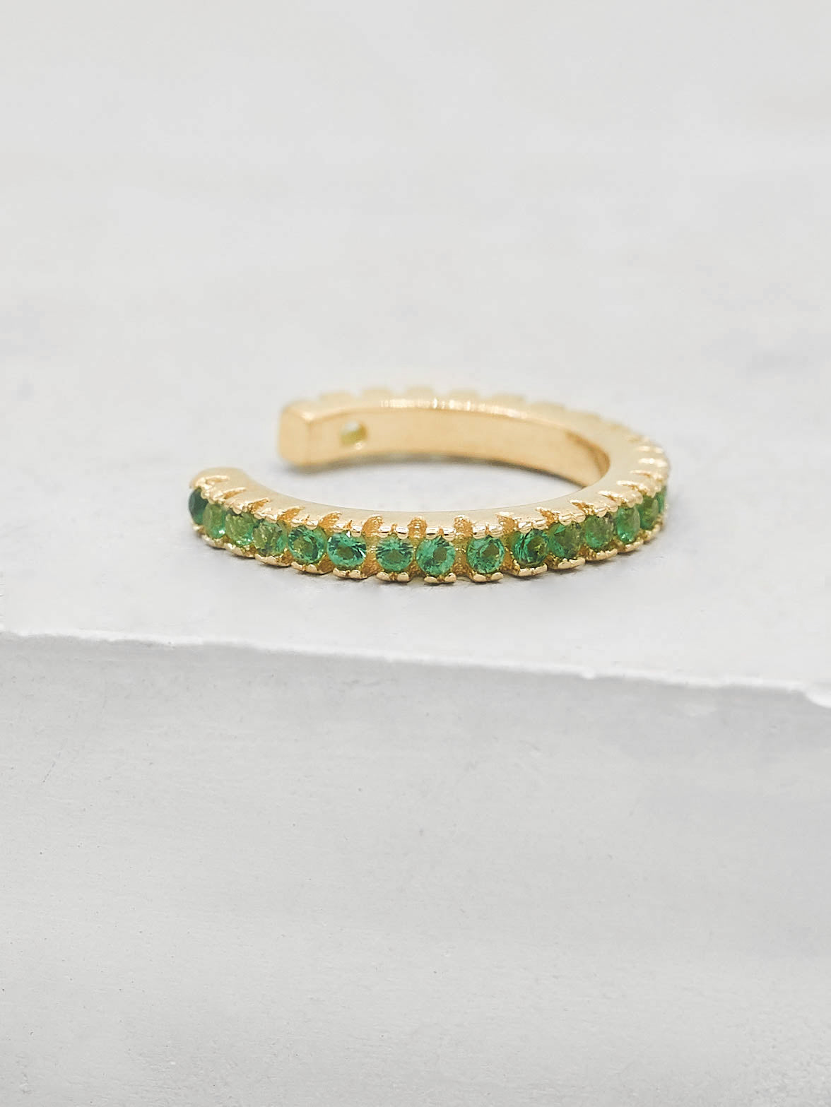 No Piercing Eternity Ear Cuff - Gold + Green