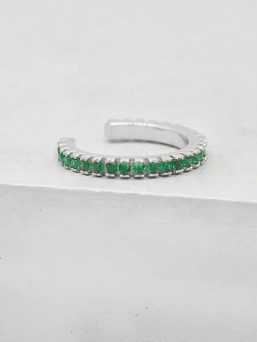 No Piercing Eternity Ear Cuff - Silver + Green