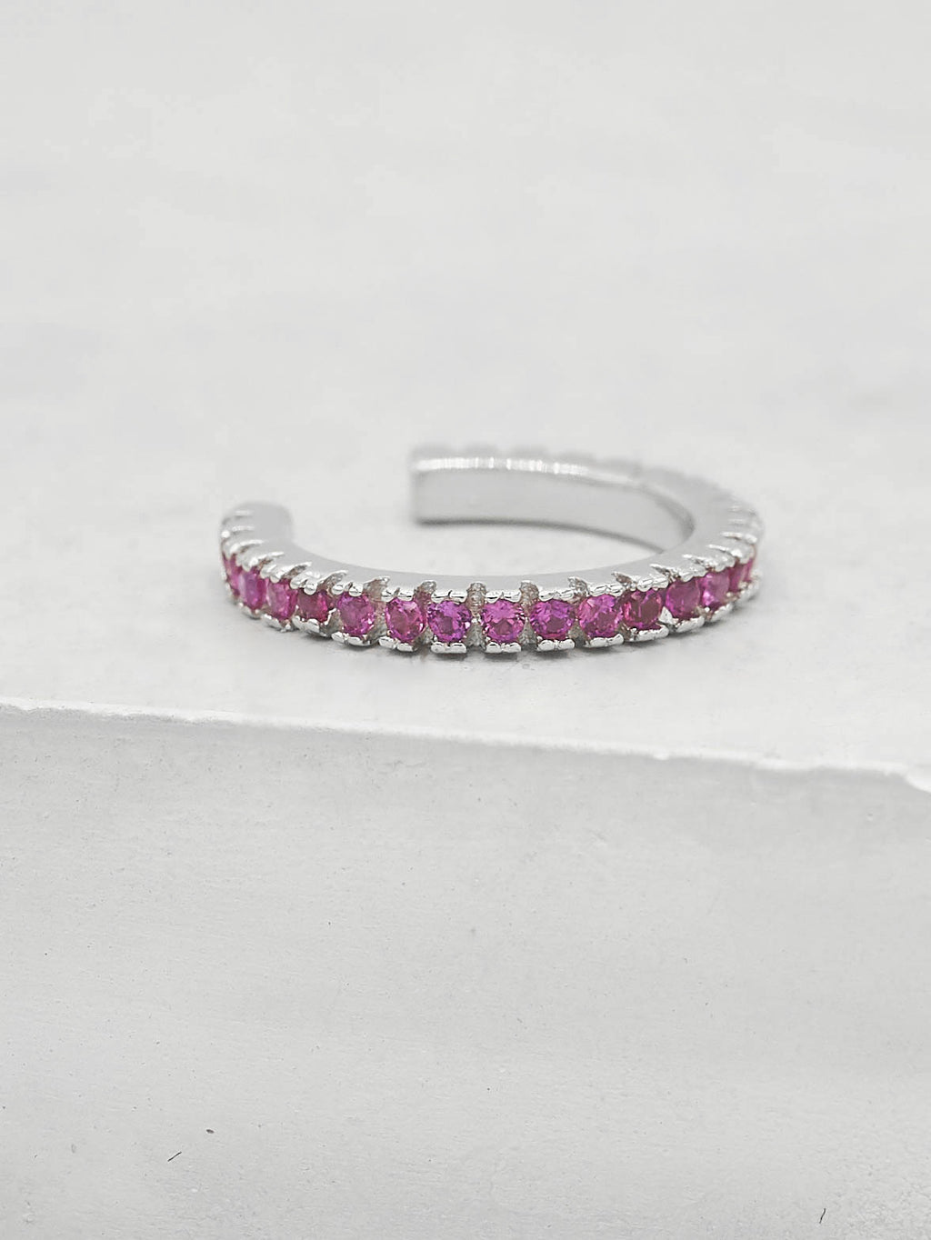 No Piercing Eternity Ear Cuff - Silver + Pink