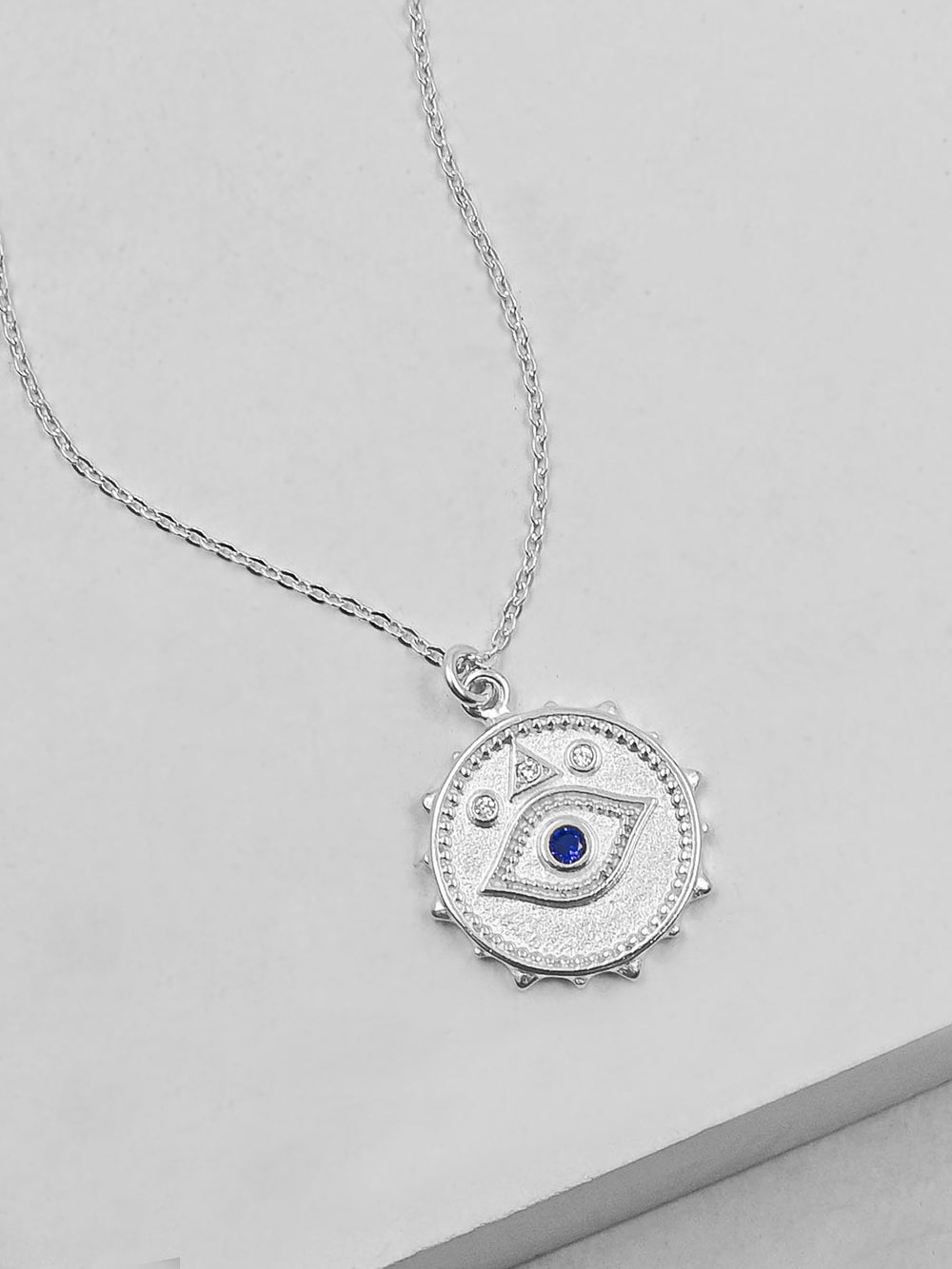 Rhodium Plated Sparkle Evil Eye Necklace by The Faint Hearted Jewelry
