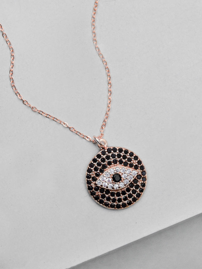 Rose Gold Evil Eye Sparkle Necklace by The Faint Hearted Jewelry