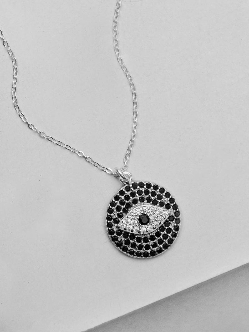 Silver Evil Eye Sparkle Necklace by The Faint Hearted Jewelry