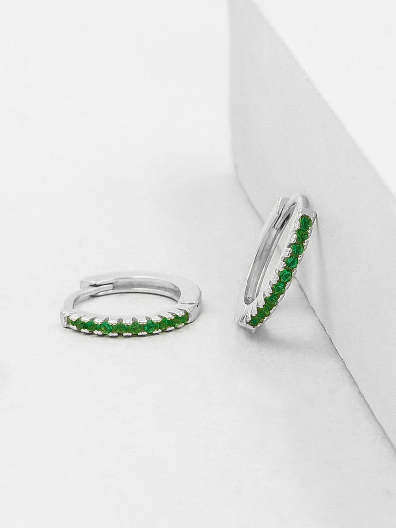 Silver Super Dainty Hoop Huggie Earrings with Green Emerald Round Cubic Zirconia by The Faint Hearted Jewelry
