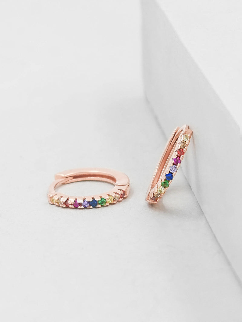 Rose Gold Super Dainty Hoop Huggie Earrings with Rainbow Round Cubic Zirconia by The Faint Hearted Jewelry