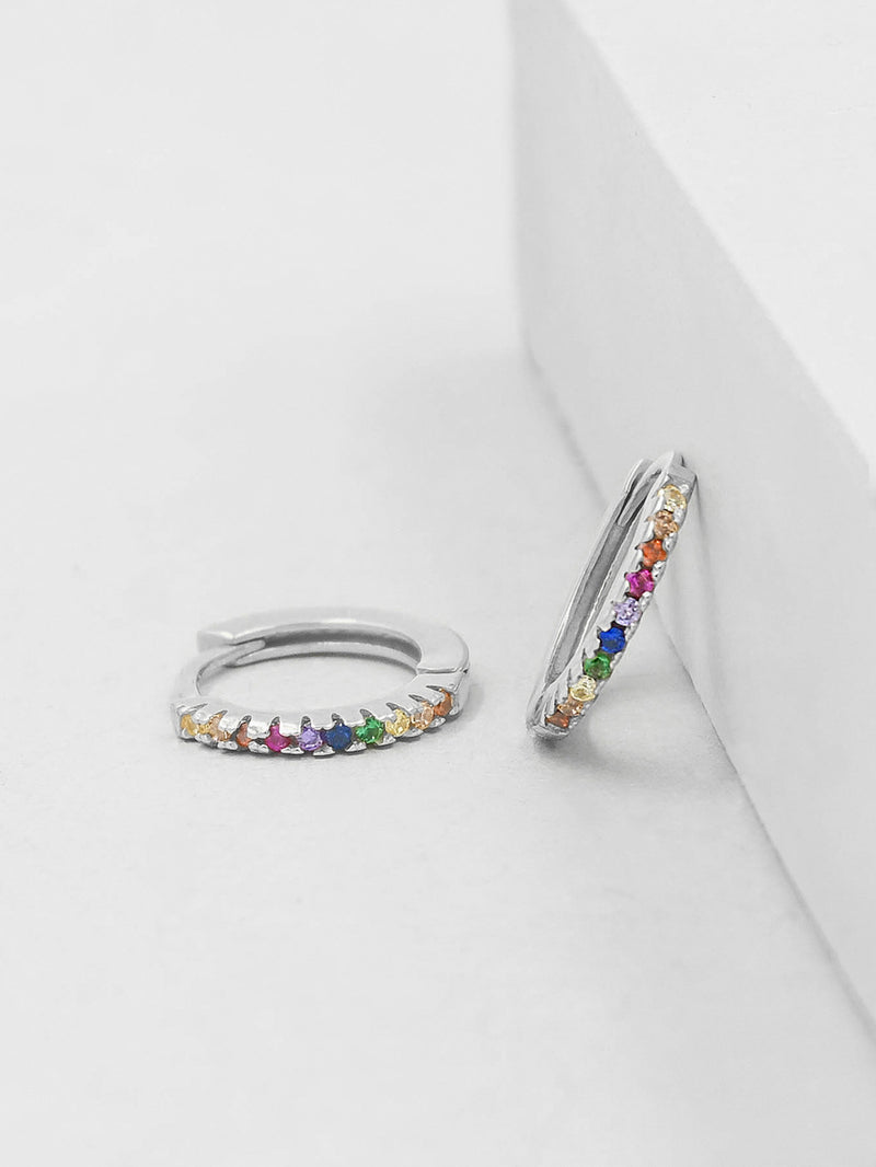 Silver Super Dainty Hoop Huggie Earrings with Rainbow Tiny Round Cubic Zirconia by The Faint Hearted Jewelry