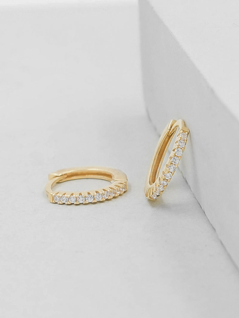 Gold Plated Super Dainty Hoop Huggie Earrings with Tiny Round Cubic Zirconia  by The Faint Hearted Jewelry