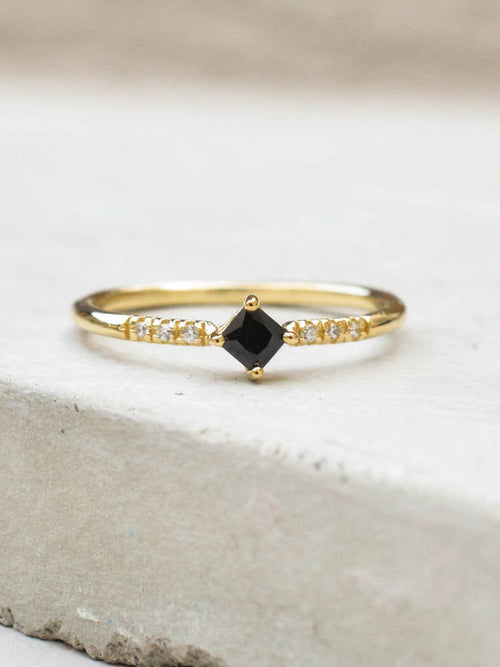 Diamond Princess Cut Stacking Ring with Black stones by The Faint Hearted Jewelry