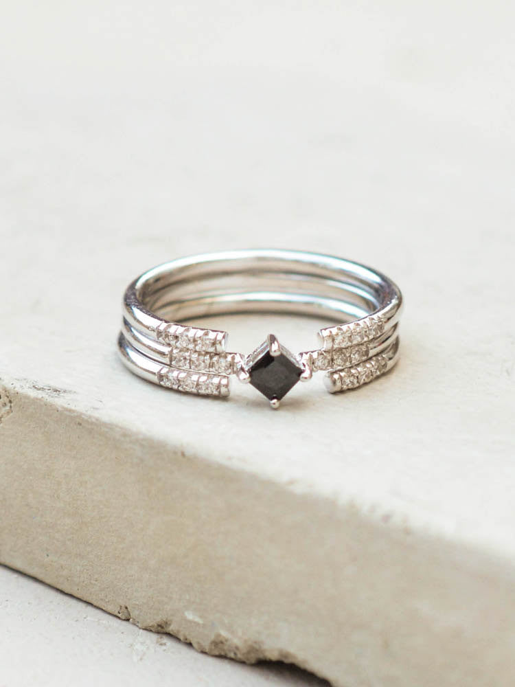 princess cut stacking ring the faint hearted jewelry