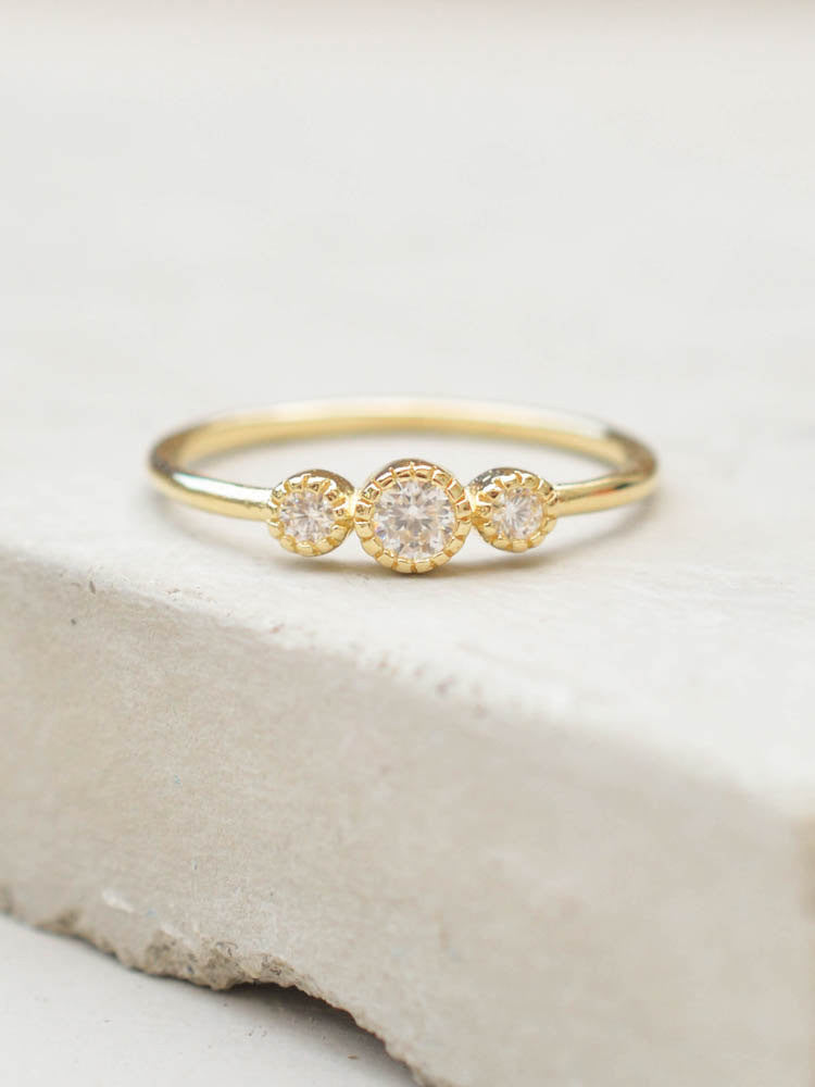 Gold 3 Stone Stacking Ring by the Faint Hearted Jewelry