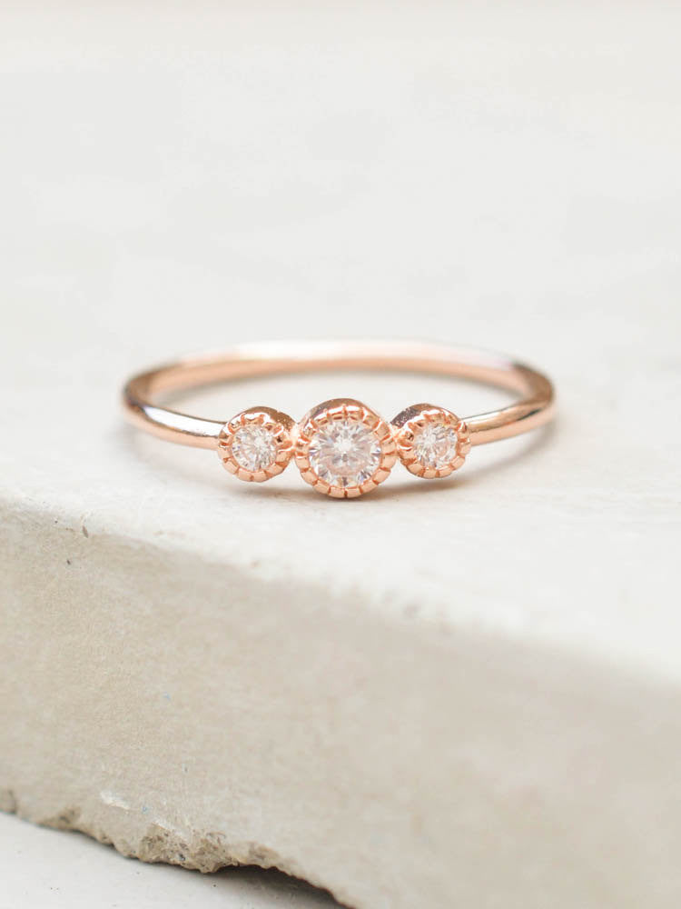Rose Gold 3 Stone Stacking Ring by the Faint Hearted Jewelry