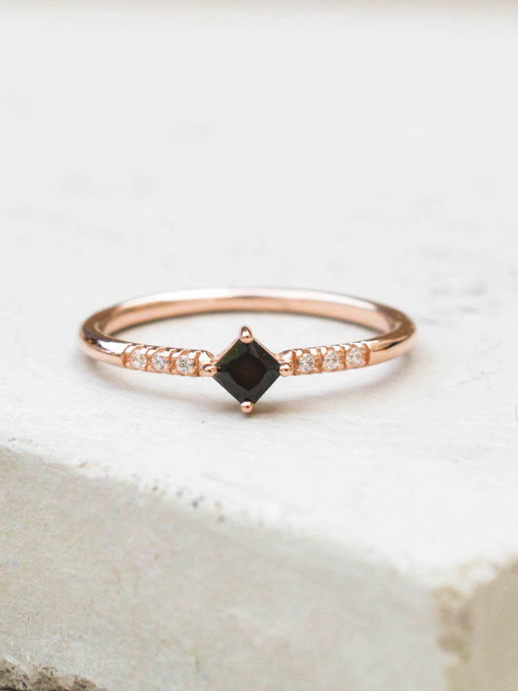 Rose Gold Princess Cut Stacking Ring with Black stones by The Faint Hearted Jewelry