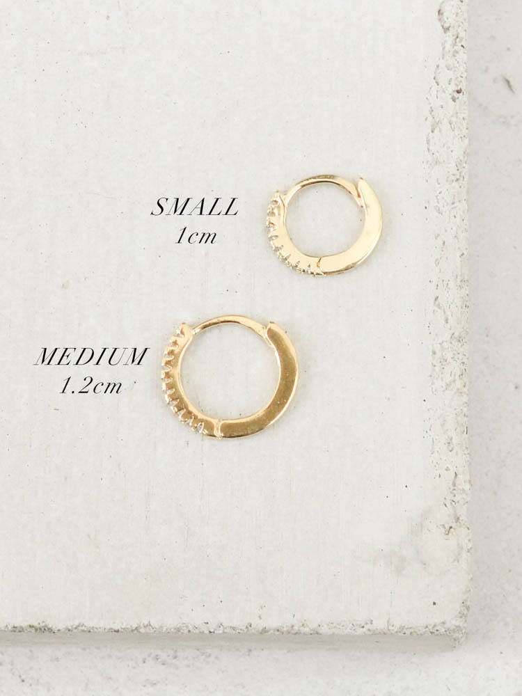 Minimalist Super Dainty Hoop Huggie Earrings with Tiny Round Cubic Zirconia by The Faint Hearted Jewelry