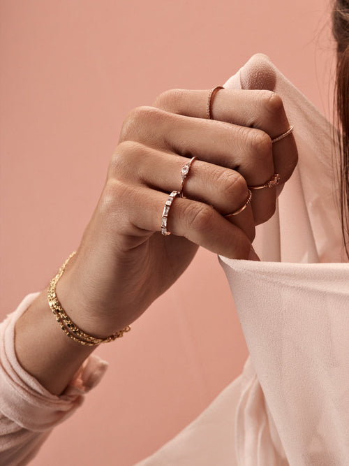 dainty rose gold oval ring stacking rings the faint hearted