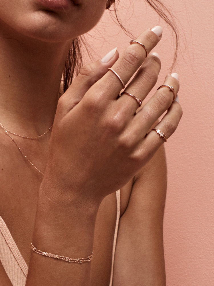 Rose Gold Star Stacking Ring by The Faint Hearted Jewelry