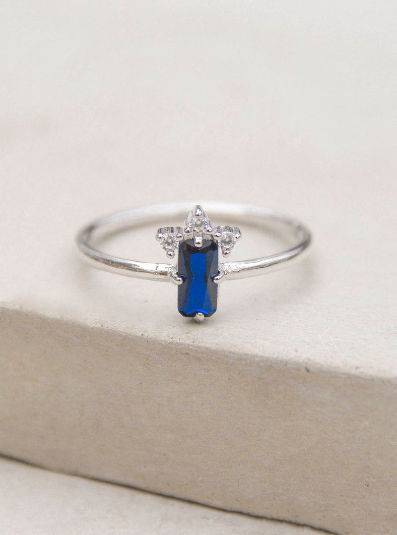 Silver Sapphire Baguette Ring by The Faint Hearted Jewelry