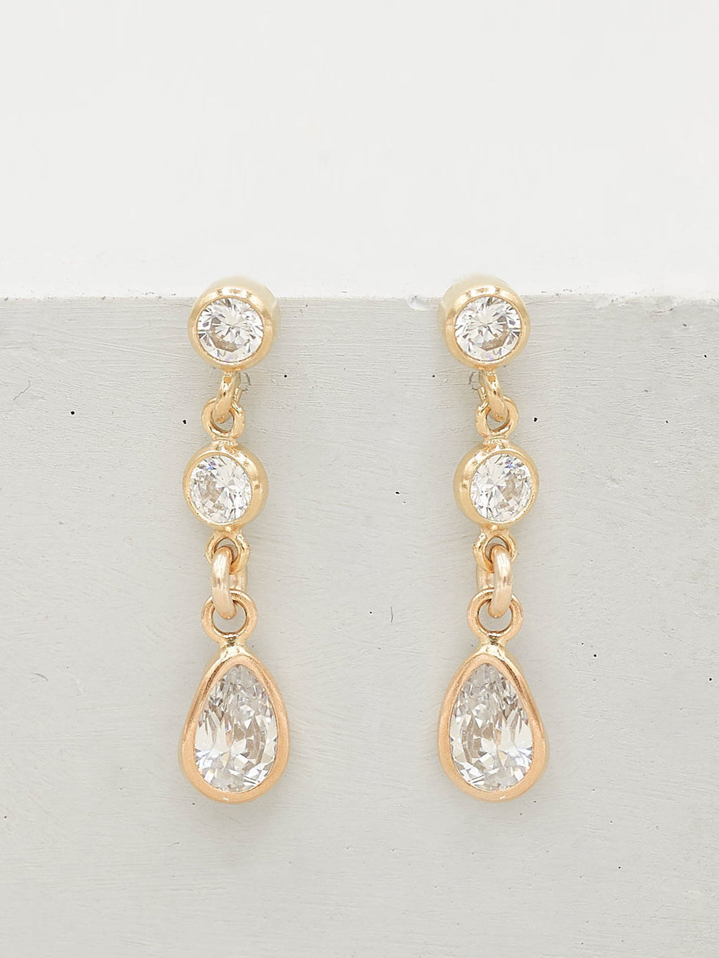 Long Pear Drop Earrings - Gold Filled