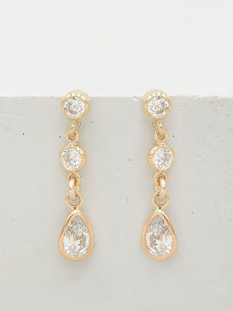 Gold Filled Pear and Round Shape CZ Cubic Zirconia Drop Dangling Earrings by The Faint Hearted Jewelry