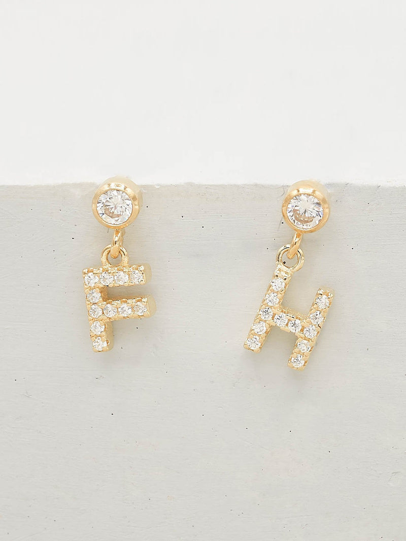Initial Stud Earrings wtih CZ Round White Dangling Gold filled  Earrings by The Faint Hearted jewelry