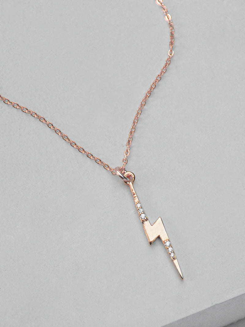 Rose Gold Lightning Bolt Charm  Necklace by The Faint Hearted Jewelry