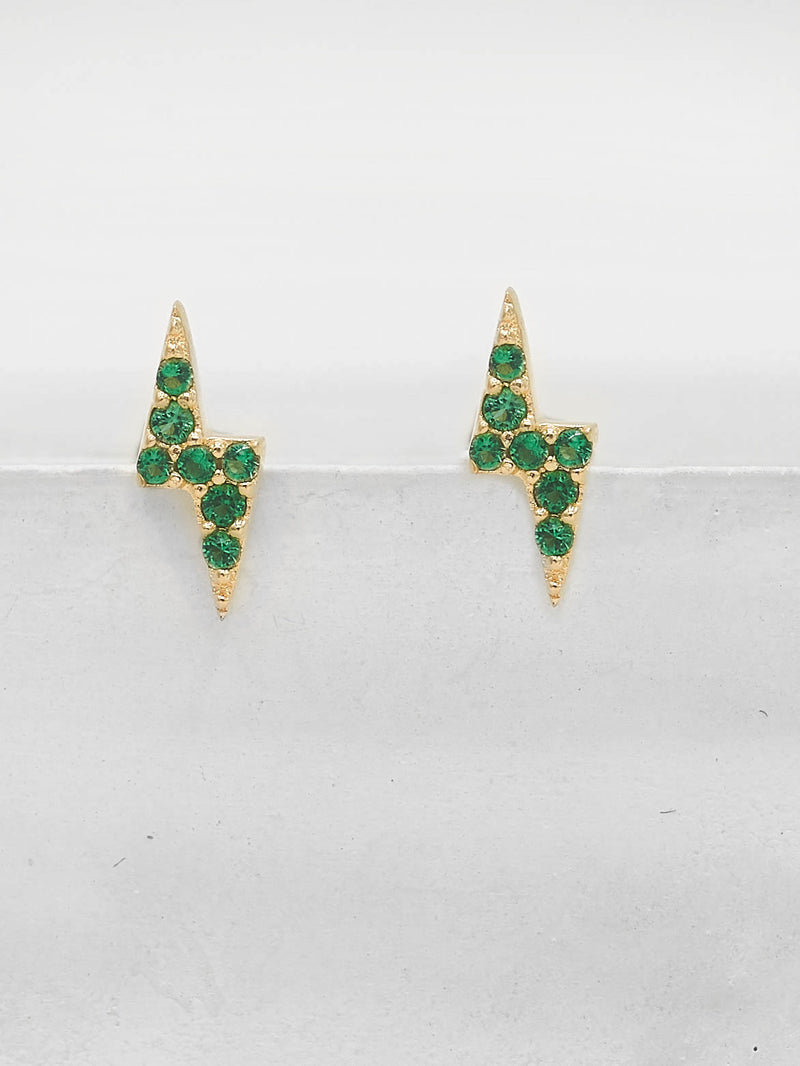 Tiny Lightning Bolt design with Green Emerald Round CZ Cubic Zirconia Stud Earrings by The Faint Hearted Jewelry