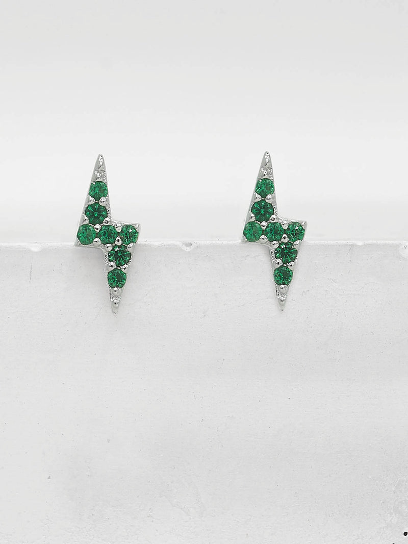 Silver Tiny Lightning Bolt design with Green Emerald Round CZ Cubic Zirconia Stud Earrings by The Faint Hearted Jewelry