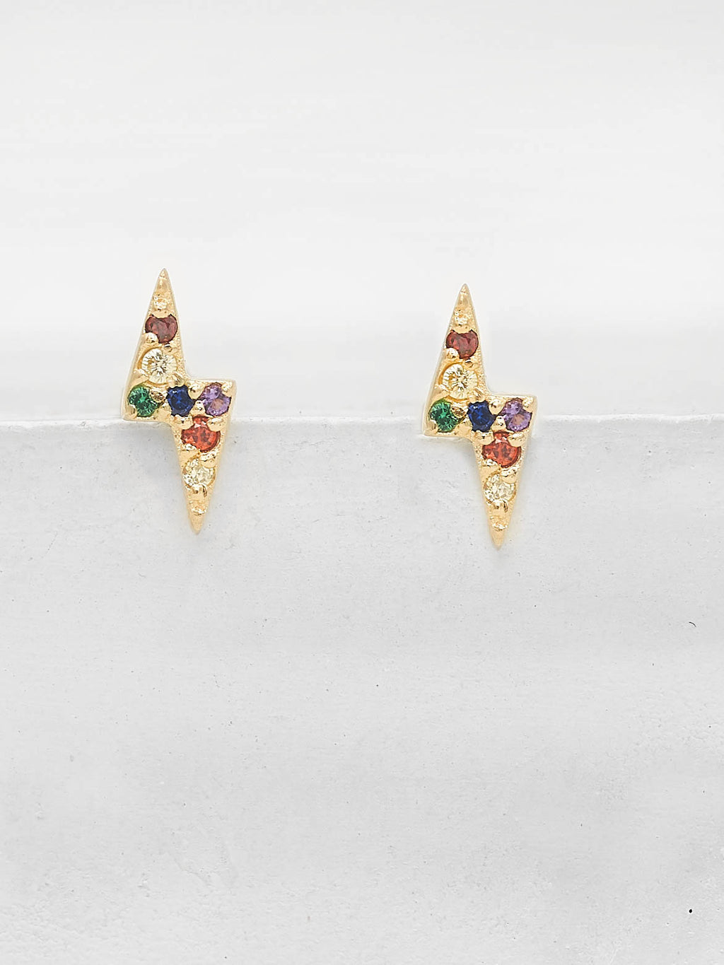 Lightning Bolt Studs - Gold + Rainbow