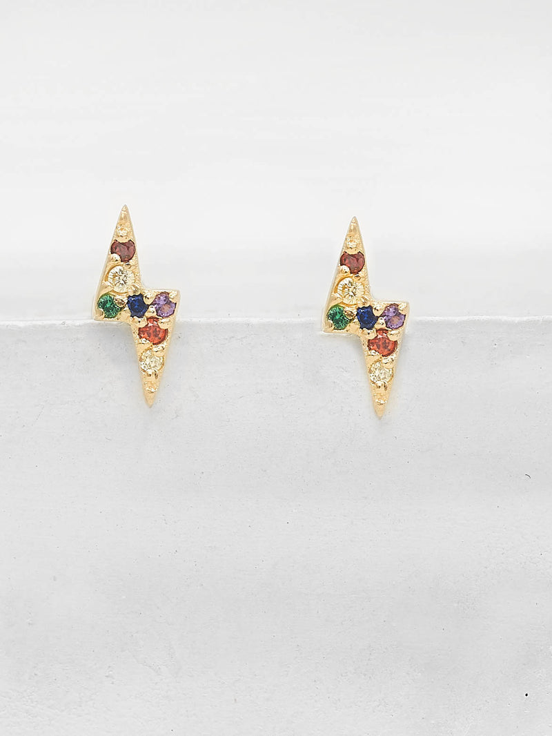 Tiny Lightning Bolt design with Rainbow Round CZ Cubic Zirconia Stud Earrings by The Faint Hearted Jewelry