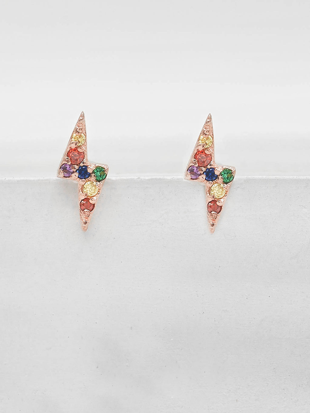 Lightning Bolt Studs - Rose Gold + Rainbow