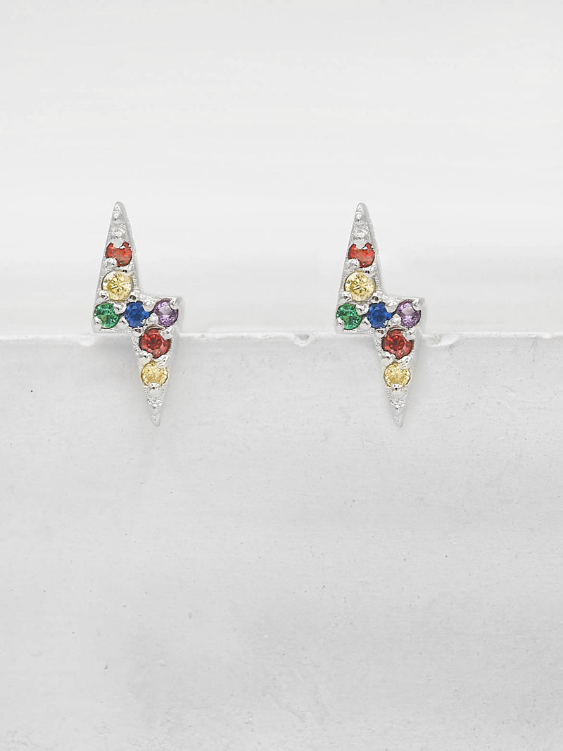Rhodium Plated Tiny Lightning Bolt design with Rainbow Round CZ Cubic Zirconia Stud Earrings by The Faint Hearted Jewelry